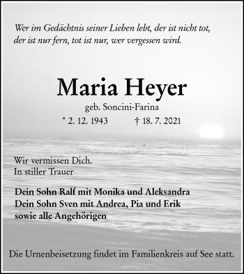 Traueranzeige von Maria Heyer von lausitzer_rundschau