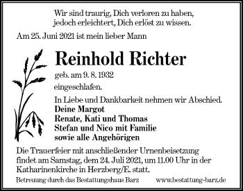 Traueranzeige von Reinhold Richter von lausitzer_rundschau