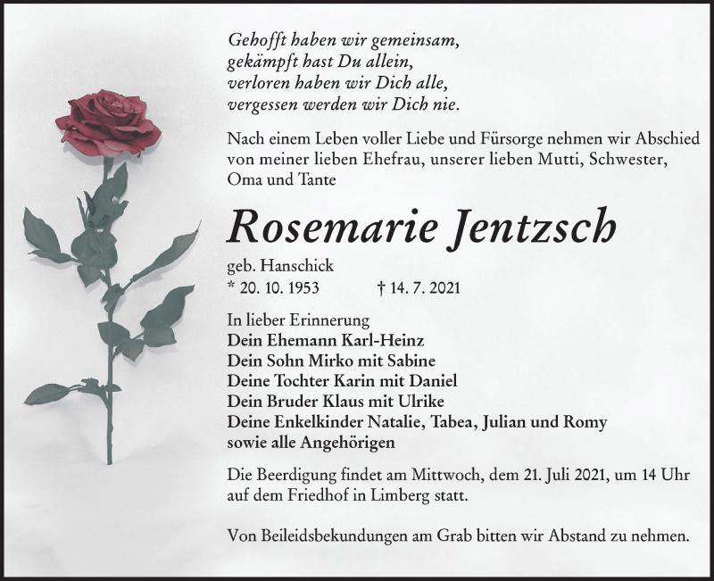 Traueranzeige für Rosemarie Jentzsch vom 17.07.2021 aus lausitzer_rundschau