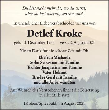 Traueranzeige von Detlef Kroke von lausitzer_rundschau