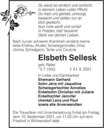Traueranzeige von Elsbeth Sellesk von lausitzer_rundschau
