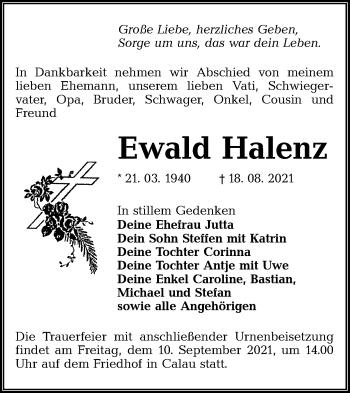 Traueranzeige von Ewald Halenz von lausitzer_rundschau