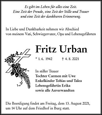 Traueranzeige von Fritz Urban von lausitzer_rundschau
