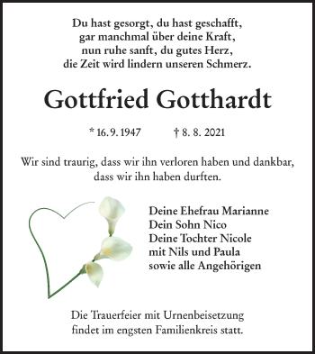 Traueranzeige von Gottfried Gotthardt von lausitzer_rundschau