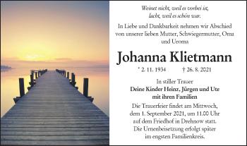Traueranzeige von Johanna Klietmann von lausitzer_rundschau