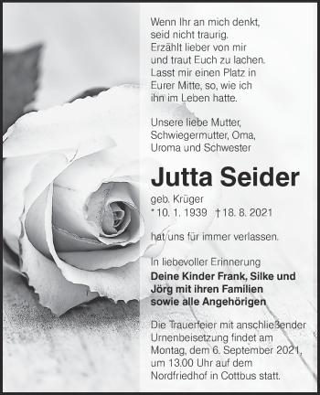 Traueranzeige von Jutta Seider von lausitzer_rundschau