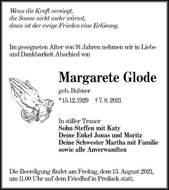 Traueranzeige von Margarete Glode von lausitzer_rundschau