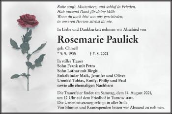 Traueranzeige von Rosemarie Paulick von lausitzer_rundschau
