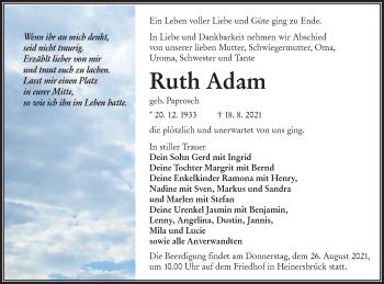 Traueranzeige von Ruth Adam von lausitzer_rundschau