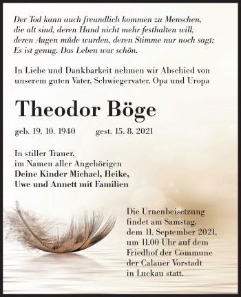Traueranzeige von Theodor Böge von lausitzer_rundschau