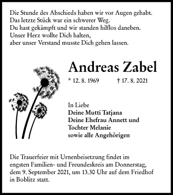 Traueranzeige von Andreas Zabel von lausitzer_rundschau