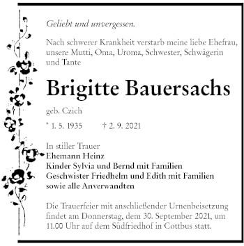 Traueranzeige von Brigitte Bauersachs von lausitzer_rundschau