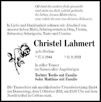 Traueranzeige von Christel Lahmert von lausitzer_rundschau