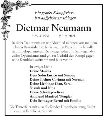Traueranzeige von Dietmar Neumann von lausitzer_rundschau