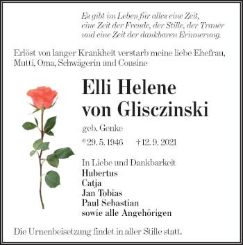 Traueranzeige von Elli Helene von Glisczinski von lausitzer_rundschau