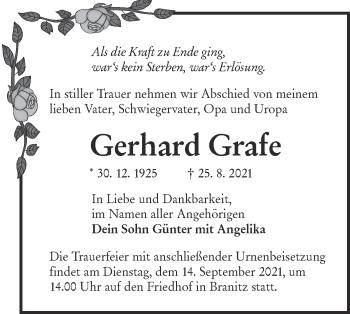 Traueranzeige von Gerhard Grafe von lausitzer_rundschau