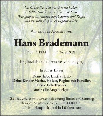 Traueranzeige von Hans Brademann von lausitzer_rundschau