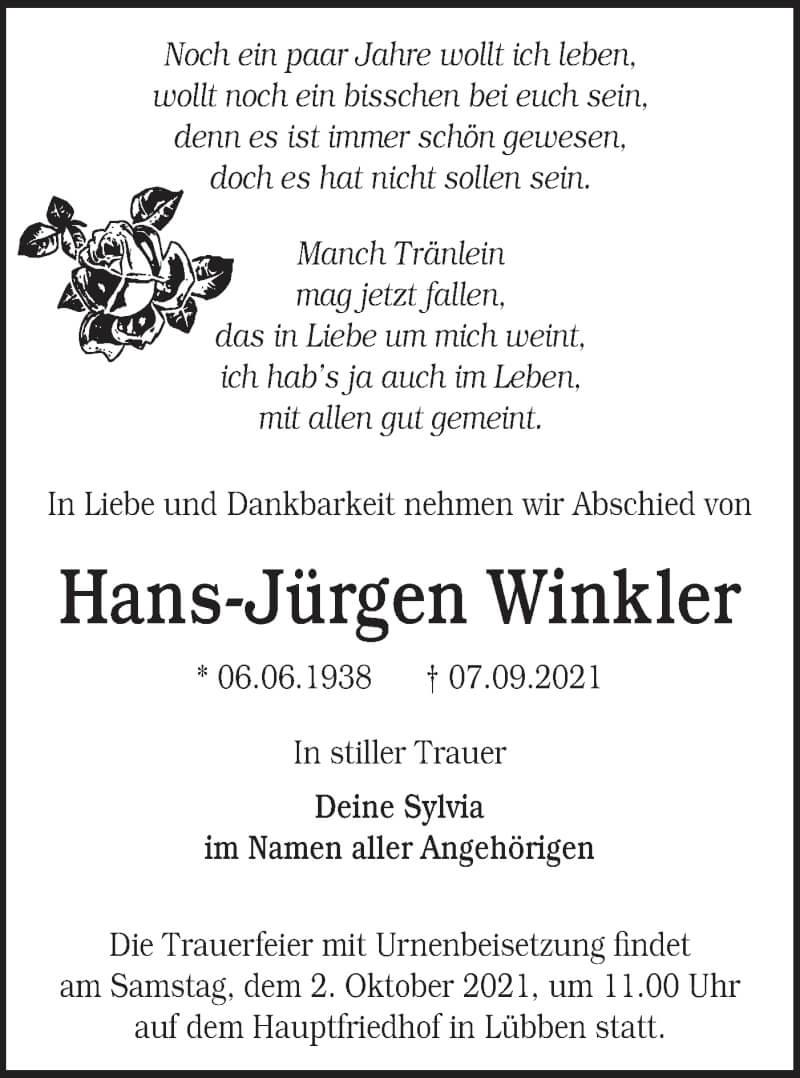 Traueranzeige für Hans-Jürgen Winkler vom 18.09.2021 aus lausitzer_rundschau