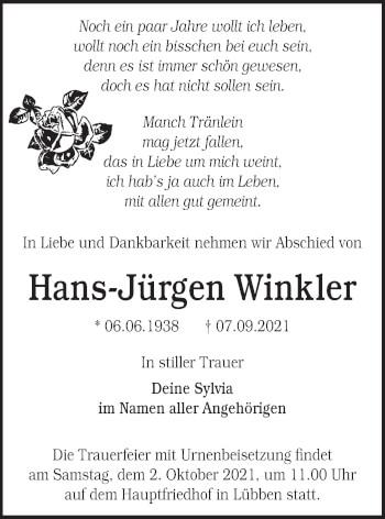 Traueranzeige von Hans-Jürgen Winkler von lausitzer_rundschau