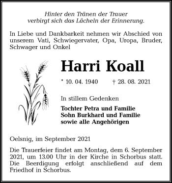 Traueranzeige von Harri Koall von lausitzer_rundschau