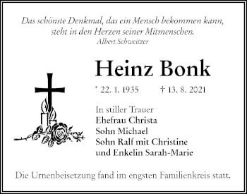 Traueranzeige von Heinz Bonk von lausitzer_rundschau