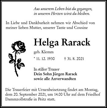 Traueranzeige von Helga Rarack von lausitzer_rundschau