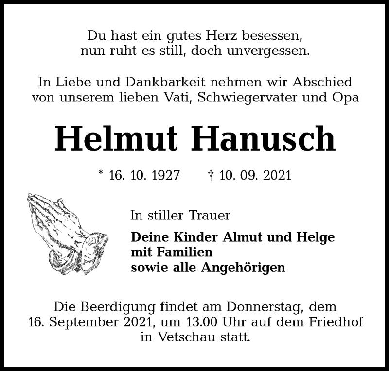 Traueranzeige für Helmut Hanusch vom 13.09.2021 aus lausitzer_rundschau