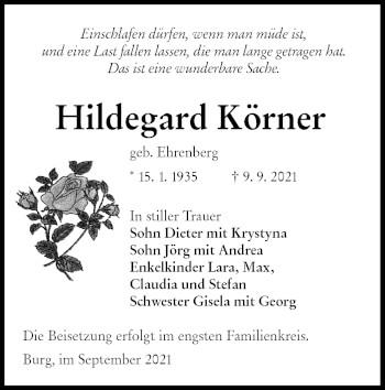 Traueranzeige von Hildegard Körner von lausitzer_rundschau