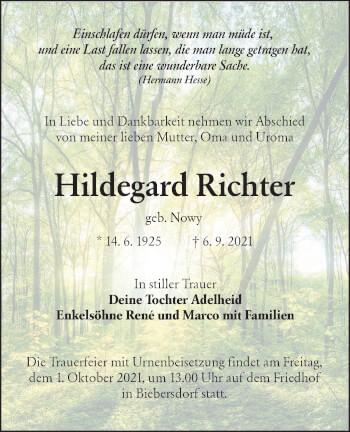 Traueranzeige von Hildegard Richter von lausitzer_rundschau