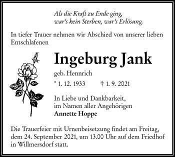 Traueranzeige von Ingeburg Jank von lausitzer_rundschau