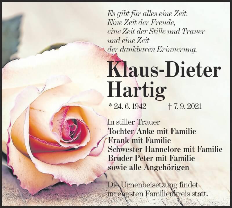 Traueranzeige für Klaus-Dieter Hartig vom 18.09.2021 aus lausitzer_rundschau