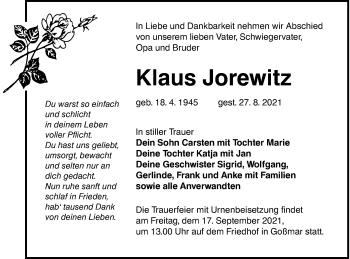 Traueranzeige von Klaus Jorewitz von lausitzer_rundschau