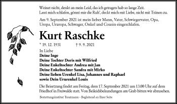 Traueranzeige von Kurt Raschke von lausitzer_rundschau