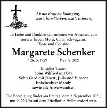Traueranzeige von Margarete Schenker von lausitzer_rundschau