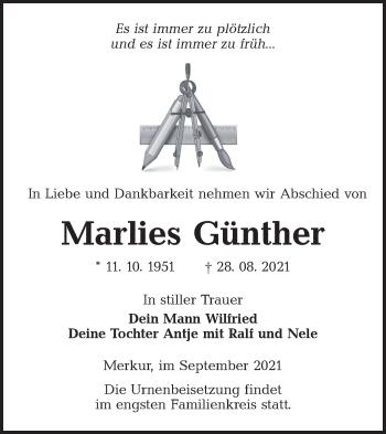 Traueranzeige von Marlies Günther von lausitzer_rundschau