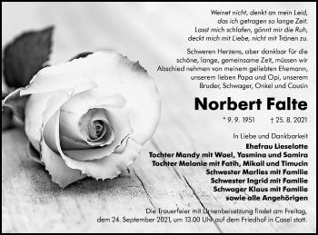 Traueranzeige von Norbert Falte von lausitzer_rundschau