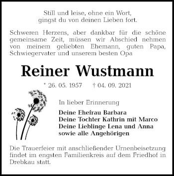 Traueranzeige von Reiner Wustmann von lausitzer_rundschau