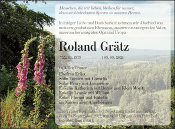 Traueranzeige von Roland Grätz von lausitzer_rundschau