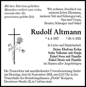 Traueranzeige von Rudolf Altmann von lausitzer_rundschau
