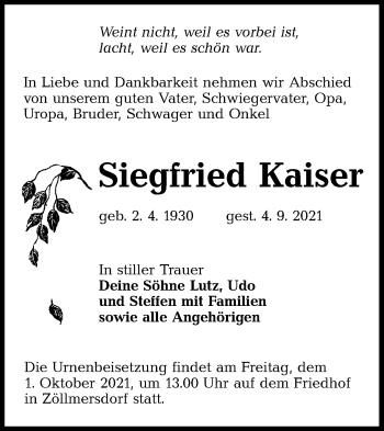 Traueranzeige von Siegfried Kaiser von lausitzer_rundschau