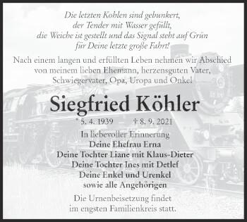 Traueranzeige von Siegfried Köhler von lausitzer_rundschau