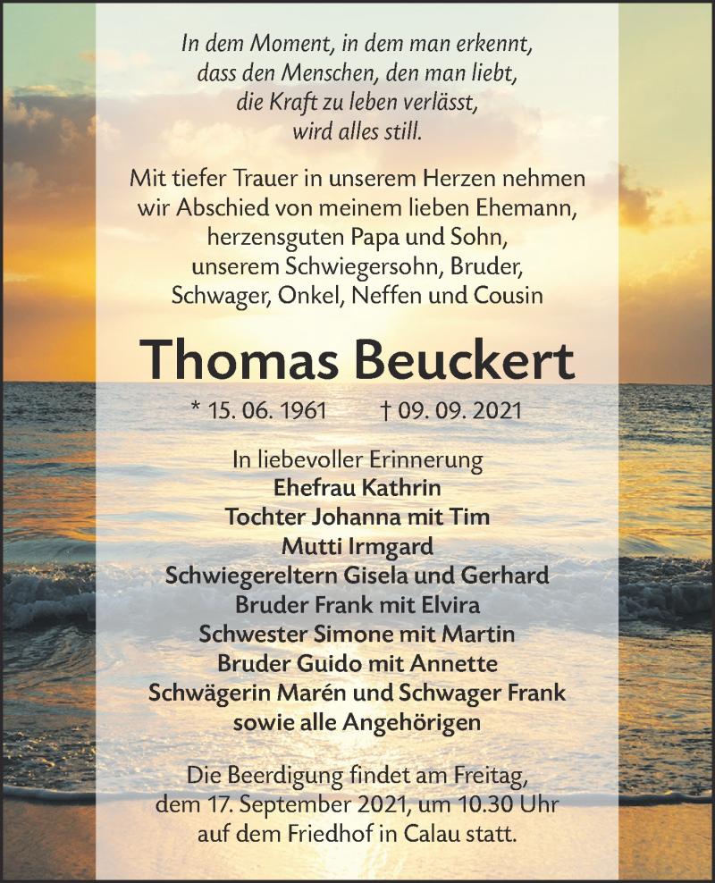 Traueranzeige für Thomas Beuckert vom 15.09.2021 aus lausitzer_rundschau