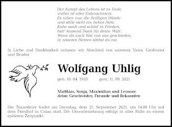 Traueranzeige von Wolfgang Uhlig von lausitzer_rundschau